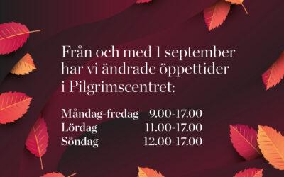 Nya öppettider från och med 1 september